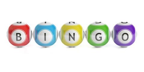 Bingo concept, lottery balls. 3D rendering