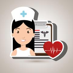 nurse heart clipboard medicine