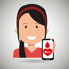 woman crooss smartphone graphic