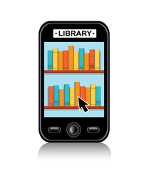 shelf with various books on your mobile phone and tablet with the inscription Library