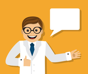 doctor in white coat on an orange background and dialogue bubble with space for text