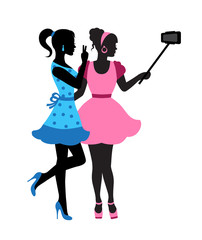 two elegant female silhouette holding selfie-stick and take pictures of themselves