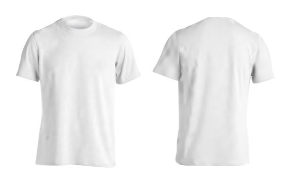 Vector illustration of white men T-shirt isolated on a light background