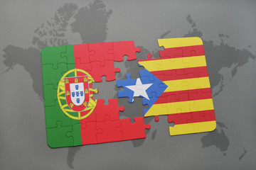 puzzle with the national flag of portugal and catalonia on a world map background.
