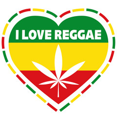 Rasta logo in rastafarian colours, heart shape with marijuana leaf, vector illustration