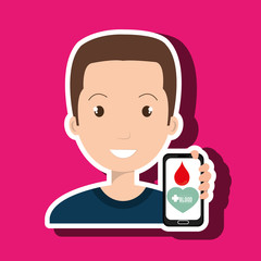 man crooss smartphone graphic vector illustration eps 10