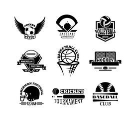 Template logos for sports teams with different balls and symbols. Tournament competition graphic champion sport team logo badge set. Vector club game element sport team logo badge.
