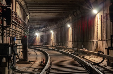 Turn in the subway tunnel