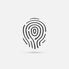 Black fingerprint icon. Isolated on white background. Vector illustration, eps 10.