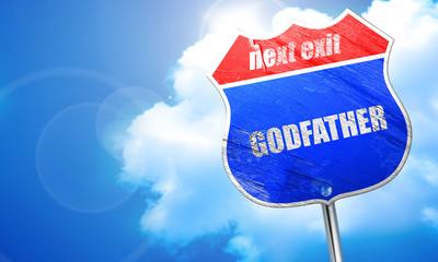 godfather, 3D rendering, blue street sign