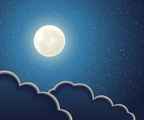 Illustration of full moon and clouds in a sky of stars