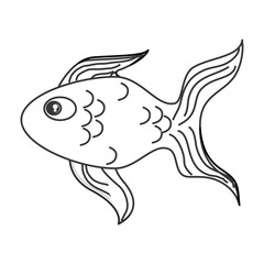 flat design single goldfish icon vector illustration