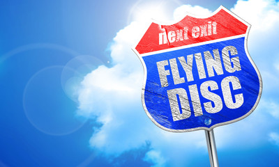 flying disc, 3D rendering, blue street sign