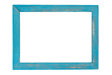 Blue wooden photo frame on white background Wall mural