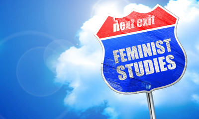 feminist studies, 3D rendering, blue street sign