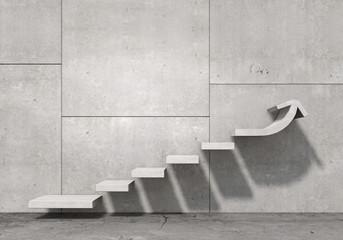 Schody na betonowej ścianie - wzrost, postęp