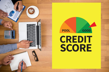 CREDIT SCORE  (Businessman Checking Credit Score Online and Fina