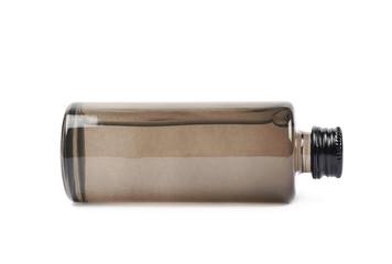 Black glass bottle vial isolated