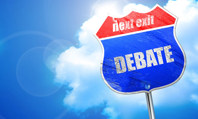 debate, 3D rendering, blue street sign