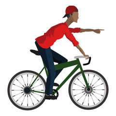 flat design man riding bike pointing forward icon vector illustration