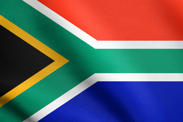 Flag of South Africa waving with fabric texture