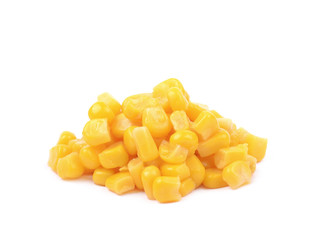 Pile of a canned corn isolated