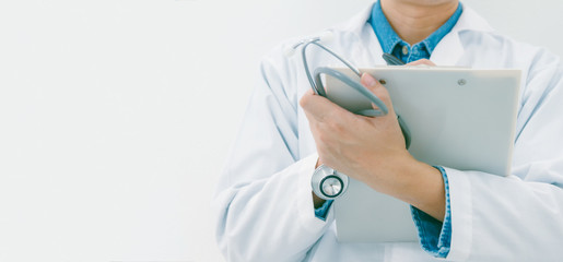 Portrait of confident doctor working on white background,medical