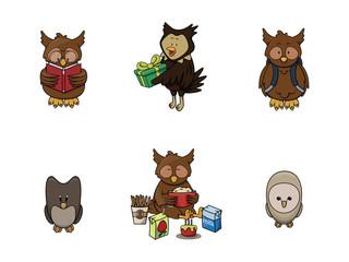 owl animal illustration design collection