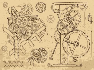 Old mechanisms and machines in steampunk style