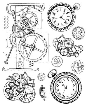 Graphic set with old clock mechanism in steampunk style
