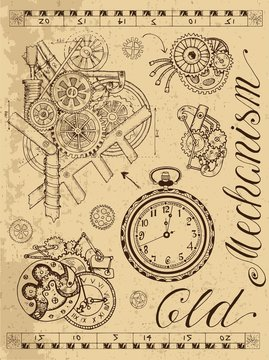 Old mechanism of clock in steampunk style