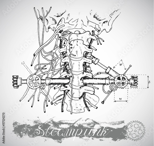 human anatomy throat with vintage mechanism in ste unk style  human anatomy throat with vintage mechanism in ste unk style