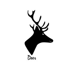 Black silhouette of a deer. Vector illustration on isolated background