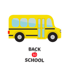 Yellow school bus kids. Cartoon clipart. Transportation. Baby collection. Side view. Back to school. Greeting card. Flat design. Isolated. White background.