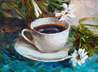painting texture oil painting still life, a cup of coffee drink