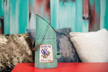 Turquoise flower bucket