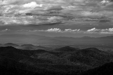 BW mountain and cloud