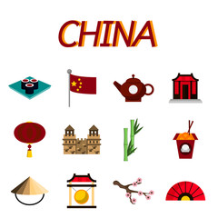 China flat icons set