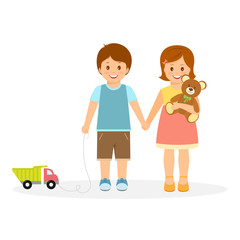Boy and girl with toys