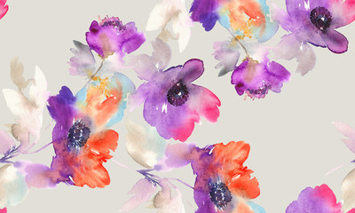 Purple watercolor flowers