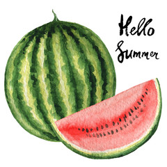 Watercolor poster fruit with watermelon and hand lettering hello summer.