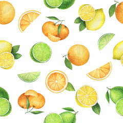 Watercolor seamless pattern with juicy oranges, mandarins, lemons and lime.