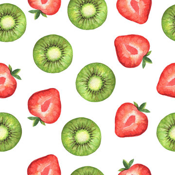 Watercolor seamless pattern with sweet slices of strawberry and kiwi.