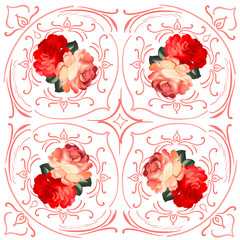 Roses wedding wreath vector card