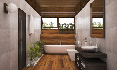 Obraz 3D rendering contemporary wood bathroom with plants - fototapety do salonu