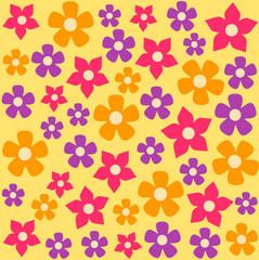 Background flower pattern. Vector flat cartoon illustration