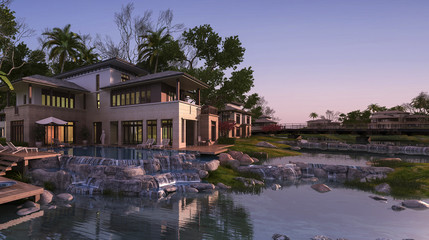 3d rendering beautiful contemporary house near resort and river at sunset