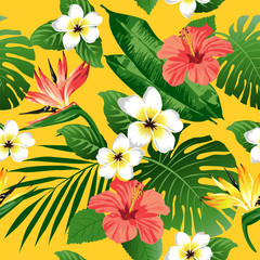 Tropical flowers and leaves on yellow background. Seamless. Vector.