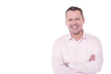 Smiling middle aged guy isolated over white