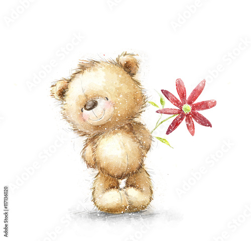 Cute Teddy Bear With The Red Flower Background With Bear And
